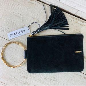 Thacker NWT Nolita Clutch in Black Suede/Leather